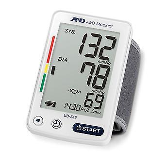 Monitor automático de presión arterial de muñeca A&D UB542 con 90 registros de memoria de lectura