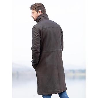 Kirkland Long Leather Coat in Brown