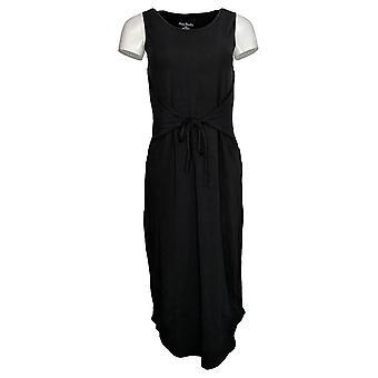 AnyBody المرأة & ق اللباس ريج دافئ متماسكة بلا أكمام التفاف ميدي الأسود A377821