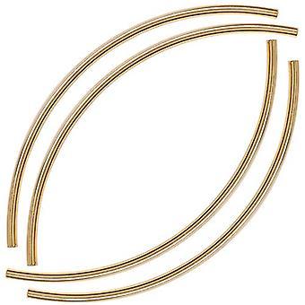 22K guldpläterade långa böjda nudelrörspärlor 3 mm x 100 mm (4)