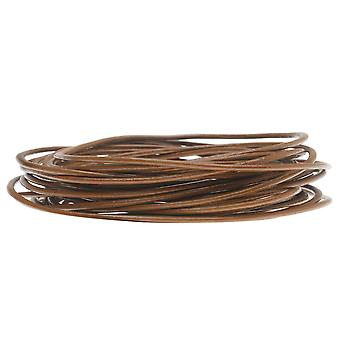Genuine Leather Cord, Round 1.5mm,  By the Yard, Light Brown