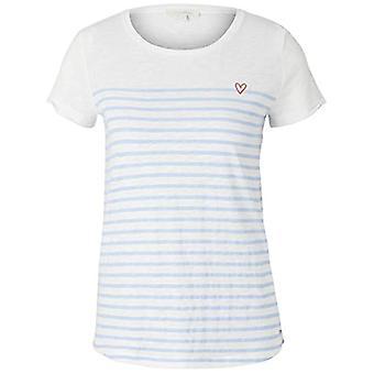 TOM TAILOR Denim Streifenprint T-Shirt, White and Blue Stripes, XS Woman