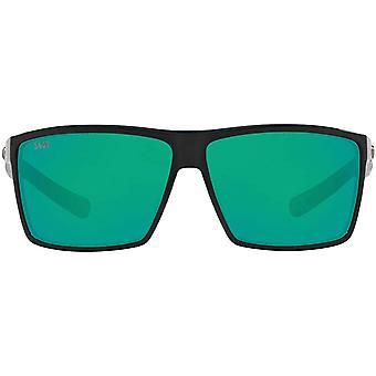 Costa Del Mar Mens Rincon Polarized Rectangular Sunglasses - Shiny Black/Copper Green Mirrored - 63 mm
