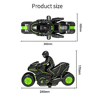 Control remoto de alta velocidad Línea Lateral Stunt Motocicleta Stunt Car Drift Carreras de toy para niños (Verde)