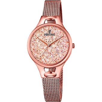 Festina horloge Miss F20333-2 - Watch analoge staal goud roze vrouw