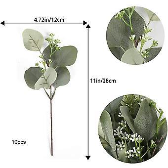 10st konstgjorda eukalyptus växter konstgjorda växter eukalyptusblad för bröllopsfest trädgård balkongdekoration
