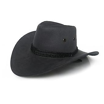 Unisex Faux piele Cowboy Hat (Gri)