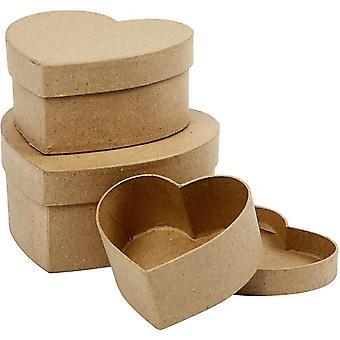 3 anidar y apilar en forma de papel Mache cajas de corazón | Papier Maché cajas
