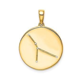 925 Sterling Silver 14k Guldpläterad och CZ Cubic Zirconia Simulerad Diamantcancer Zodiac Hänge Halsband Smycken Gåvor