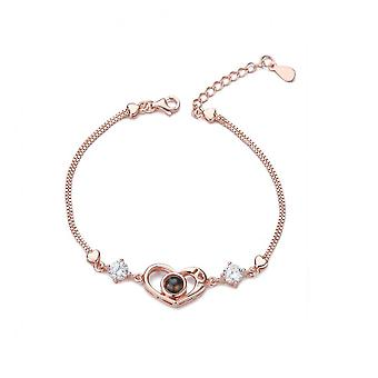 Bs48 Jewelry Female S925 Sterling Silver Love Shining Bracelet Light Luxury Exquisite Bracelet Personalized Gift