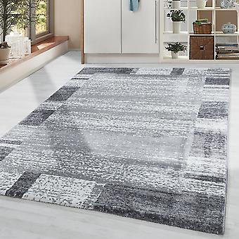 Woonkamer tapijt Korte stapel Zachte Zachte Moderne grens patroon Grijs Wit