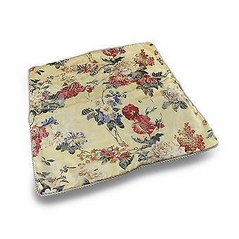 Kwiatowy wydruku światło żółte rzucać poduszki pokrycie w/kości słoniowej przewodowe wykończenia 18 x 18 w.