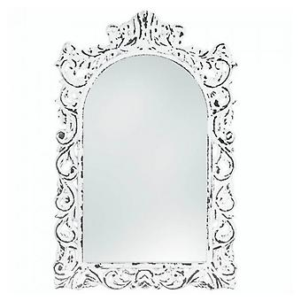 Accent Plus Distressed White Ornate Wood Wall Mirror, Pack of 1