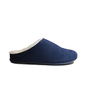 Fitflop Chrissie Shearling Midnight Navy Suede Leather Womens Slip On Mule Slippers