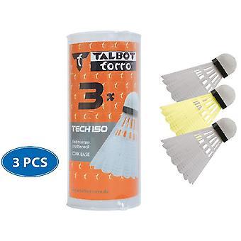 Talbot Torro Badminton Tech 150 Synthetic Shuttlecock - White / Yellow - 3 pcs