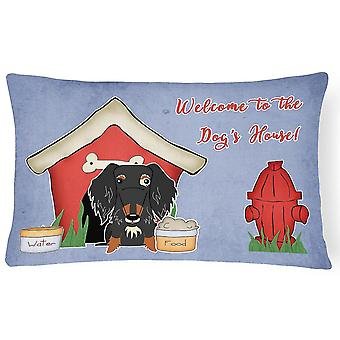 Pillows dog house collection wire haired dachshund dapple canvas fabric decorative pillo