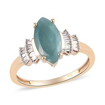 Grandidierite, White Diamond Ballerina Ring 9K Yellow Gold Dazzling Gift 1.7ct(K)