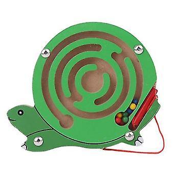 Børn magnetisk labyrint legetøj træ puslespil (Turtle)