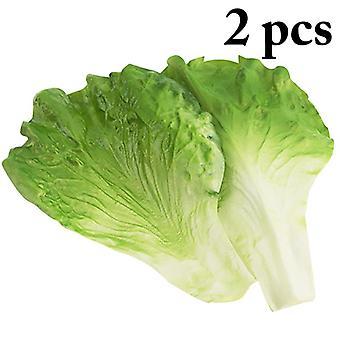 2kpl simulaatio vihreä salaatti lehdet teeskennellä pelata keittiö leluja keinotekoisia elintarvikkeita