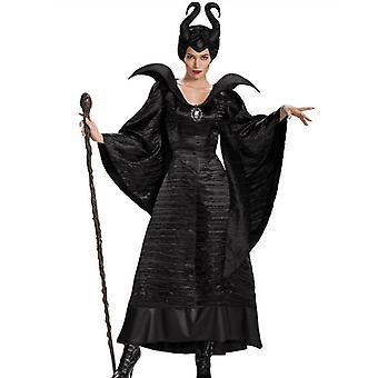 Женщины Малефисента Злая Королева Косплей Костюм Вечеринка Хэллоуин Фантазия Платье