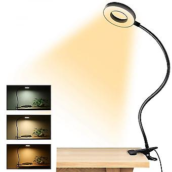 Clip-on Led Reading Light Usb Rechargeable Table Desk Lamb With Flexible Clamp
