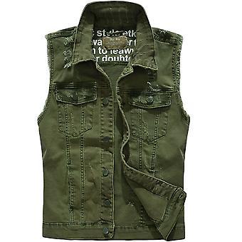 Seeunique Men's Casual Lapel Denim Vest Jacket Vintage Slim Fit Sleeveless Ripped Jeans Vests