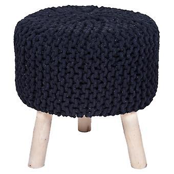 Käsintehty puuvilla punottu jakkara neulottu ottomaanien pouf jalka lepo pehmeät istuimet musta