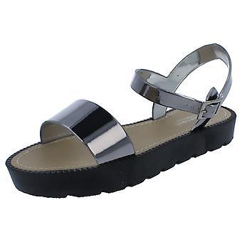 Ladies Metallic Flatform Sandals