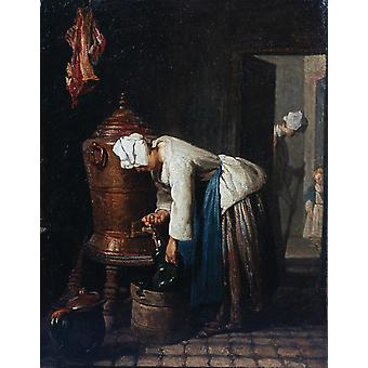 Jean Chardin - Woman Drawing Water at the Cistern Poster Print Giclee