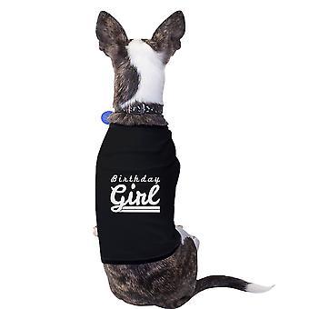 Aniversário menina preto camisa de estimação pequeno algodão presente de aniversário de cachorro engraçado