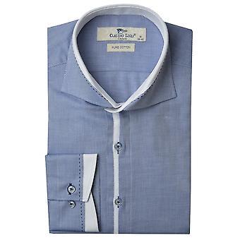 Claudio Lugli Cutaway Trim Collar Twill Mens Shirt
