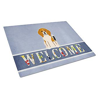 Carolines Treasures  BB5621LCB Beagle Tricolor Welcome Glass Cutting Board Large