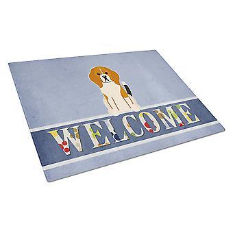 Carolines skatter BB5621LCB Beagle Tricolor velkommen Glass skjærebrett store