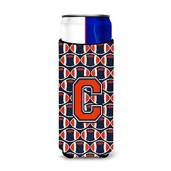 Letter C Football Orange, Blue and white Ultra Beverage Insulators for slim cans