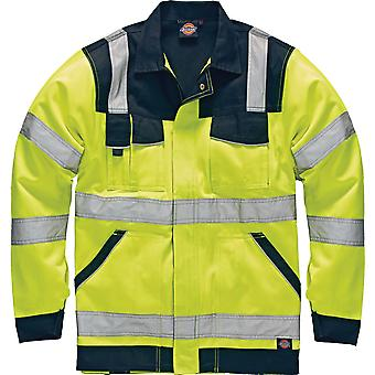 Dickies Mens Industry High Visibility Viz Polycotton Jacket Yellow