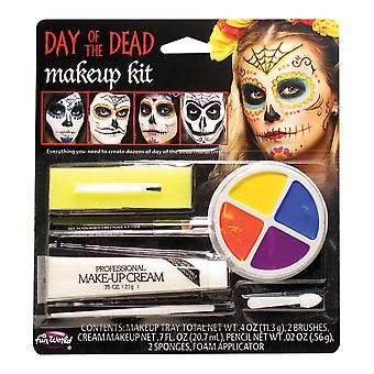 Day Of The Dead Mexican Ghost Skeleton Skull Men Women Costume Makeup Kit