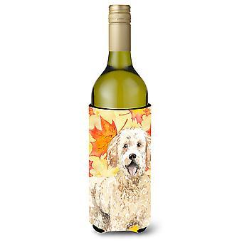 Fall Leaves Goldendoodle Wine Bottle Beverge Insulator Hugger