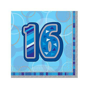 Geburtstag Glanz blau - 16. Geburtstag - Lunch Servietten
