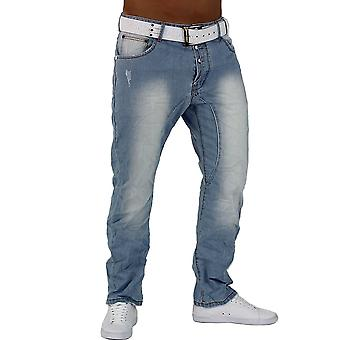 Men's Jeans Light Blue Denim Slim Fit Chino Boyfriend Clubwear stagedivers