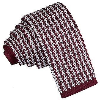 White and Burgundy Houndstooth Knitted Skinny Tie