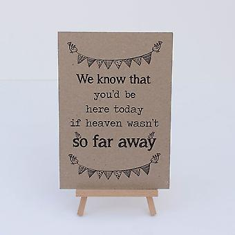 Wedding Sign 'Can't be with us' Card and Easel Kraft Brown Rustic Remember Loved Ones