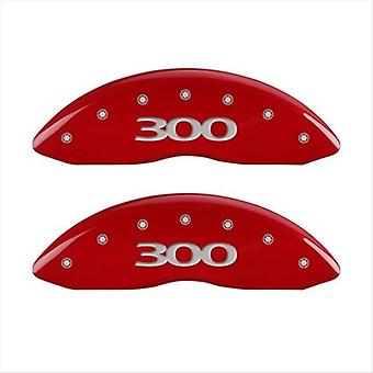 SET OF 4 CALIPER COVERS, ENGRAVED FRONT AND REAR: 300, RED POWDER COAT FINISH, S