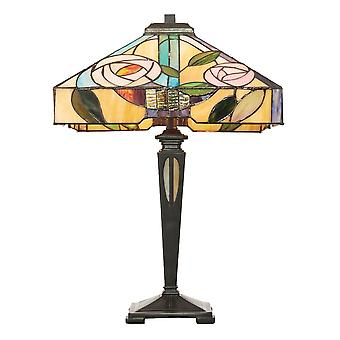 Interiors 1900 Willow Tall Bronze Lamp With Pink Rose Tiffany Glass Shade Square