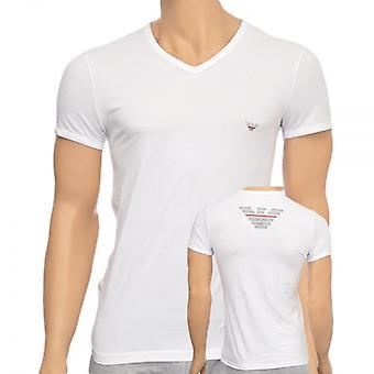 Emporio Armani Eagle Stretch Cotton V-Neck T-Shirt, White, Medium
