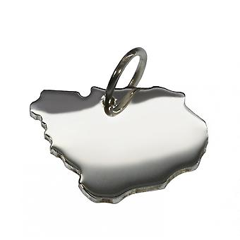 Trailer map URUGUAY pendant in solid 925 Silver