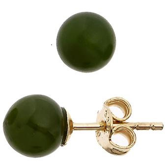 Jade ear studs earrings 333 Gold Yellow Gold 2 jade stones earring gold