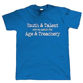 Age & Treachery, Mens T Shirt - Match Youth Talent Grumpy Old Man Gift Him Dad