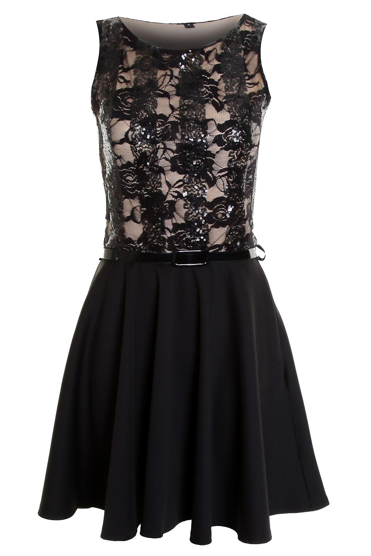 Ladies Sleeveless Belted Sequin Lined Floral Lace Women's Skater Dress