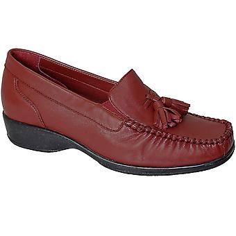Ladies Genuine Real Leather Tassel Front Comfortable Women's Loafer Flat Shoes