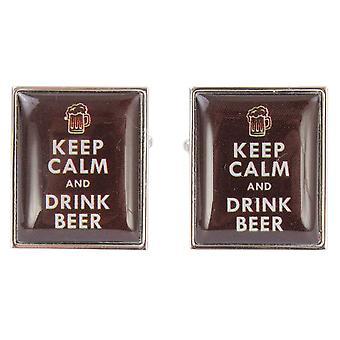 Zennor Behåll lugnet och dricka öl manschettknappar - karamell